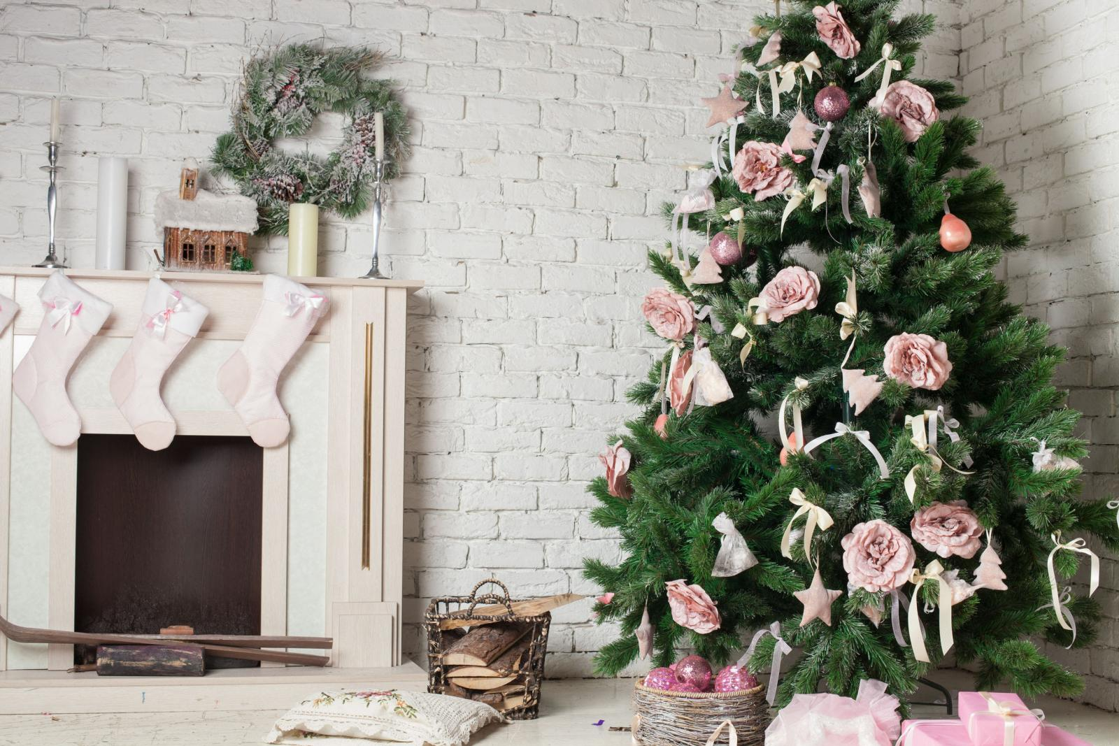 33130926 - image of chimney and decorated xmas tree with gift